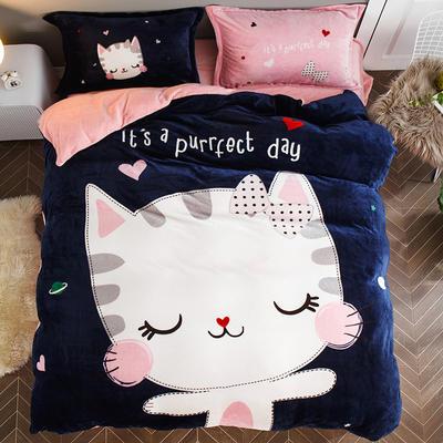 2018新款-7斤大版法莱绒卡通四套件加厚法兰绒套件 1.5m(5英尺)床 公主小猫