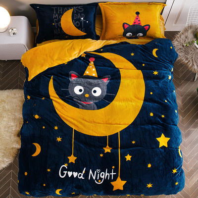 2019大版法莱绒卡通四套件加厚法兰绒套件 1.8m(6英尺)床 喵晚安