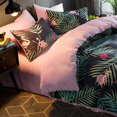 2018新款-时尚法莱绒四件套加厚法兰绒四件套 床单款1.8m(6英尺)床 爱情鸟
