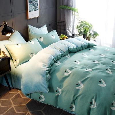 2018新款-时尚法莱绒四件套加厚法兰绒四件套 床单款1.8m(6英尺)床 芳草悠悠绿