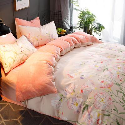 2018新款-时尚法莱绒四件套加厚法兰绒四件套 床单款1.8m(6英尺)床 芬芳