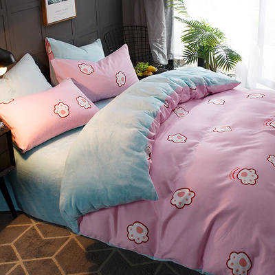 2018新款-时尚法莱绒四件套加厚法兰绒四件套 床单款1.5m(5英尺)床 脚印