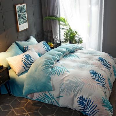 2018新款-时尚法莱绒四件套加厚法兰绒四件套 床单款1.5m(5英尺)床 金枝玉叶