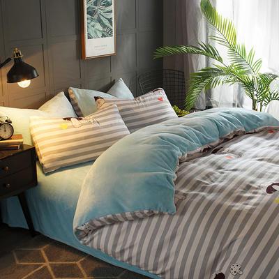 2018新款-时尚法莱绒四件套加厚法兰绒四件套 床单款1.8m(6英尺)床 蘑菇庄园