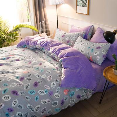 2019-时尚法莱绒四件套加厚法兰绒四件套 床单款1.8m(6英尺)床 窃窃私语