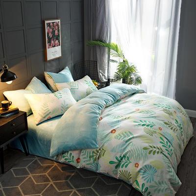 2018新款-时尚法莱绒四件套加厚法兰绒四件套 床单款1.5m(5英尺)床 叶叶传情