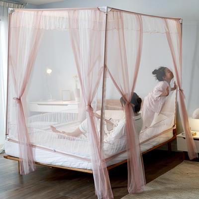 乐蔻家纺   2021床笠款宝宝防摔坐床三开门拉链蚊帐 1.5m(5英尺)床 浪漫豆沙