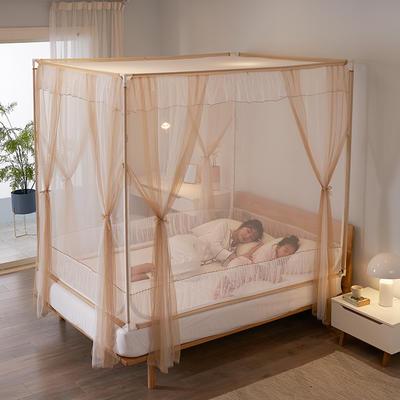 2020床笠款宝宝防摔坐床三开门拉链蚊帐1.5m1.8床双人家用 1.5m(5英尺)床 浪漫咖啡