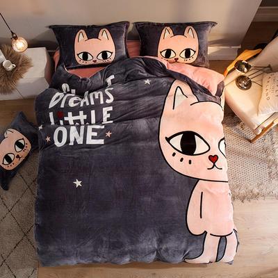 2019大版法莱绒卡通四套件加厚法兰绒套件 1.8m(6英尺)床 搞怪猫