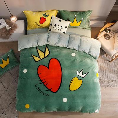 2019大版法莱绒卡通四套件加厚法兰绒套件 1.5m(5英尺)床 胡萝卜绿