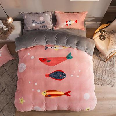 2019大版法莱绒卡通四套件加厚法兰绒套件 1.5m(5英尺)床 锦鲤
