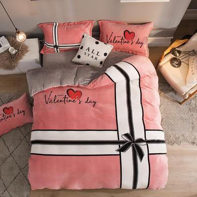 2019大版法莱绒卡通四套件加厚法兰绒套件 1.5m(5英尺)床 情人结
