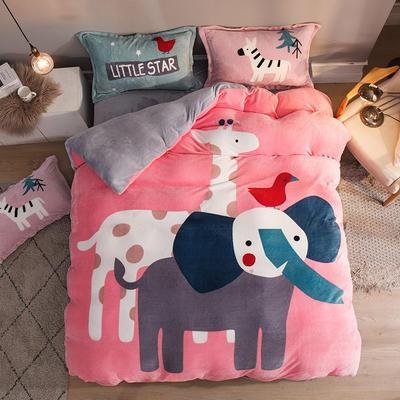2019大版法莱绒卡通四套件加厚法兰绒套件 1.5m(5英尺)床 深林动物