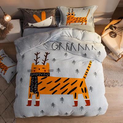 2019大版法莱绒卡通四套件加厚法兰绒套件 1.5m(5英尺)床 西蒙的猫
