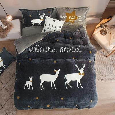 2019大版法莱绒卡通四套件加厚法兰绒套件 1.5m(5英尺)床 星空小鹿