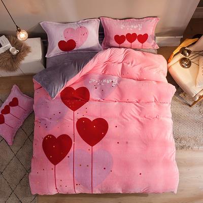 2019大版法莱绒卡通四套件加厚法兰绒套件 1.5m(5英尺)床 自由的心