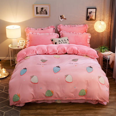 2019款 韩版法莱绒四件套加厚法兰绒套件 1.8m(6英尺)床四件套 爱心草莓粉