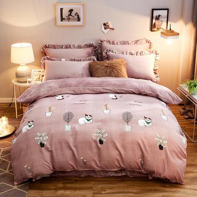 2019款 韩版法莱绒四件套加厚法兰绒套件 1.8m(6英尺)床四件套 洛可可豆沙