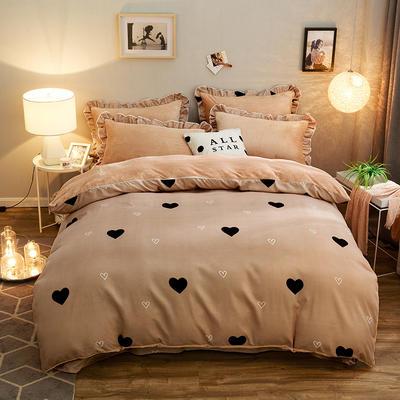 2019款 韩版法莱绒四件套加厚法兰绒套件 1.8m(6英尺)床四件套 心水咖