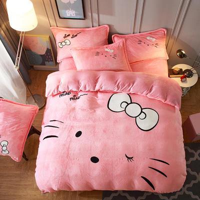 2019大版法莱绒卡通四套件加厚法兰绒套件 1.5m(5英尺)床 萌猫
