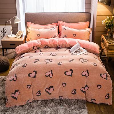 2019新款-雪花绒四件套 床单款1.5m(5英尺)床 爱心点击