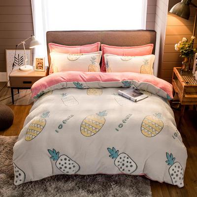 2019新款-雪花绒四件套 床单款1.5m(5英尺)床 缤纷菠萝