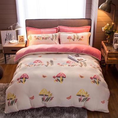 2019新款-雪花绒四件套 床笠款1.8m(6英尺)床 彩色蘑菇