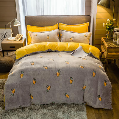 2019新款-雪花绒四件套 床单款1.5m(5英尺)床 抽象菠萝-灰