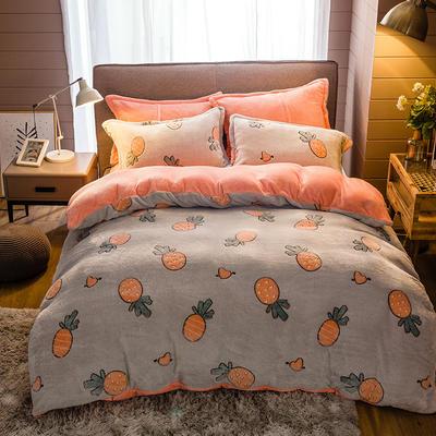 2019新款-雪花绒四件套 床单款1.8m(6英尺)床 动漫菠萝