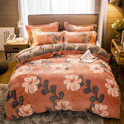 2020款雪花绒四件套3.2kg加厚法莱绒保暖套件 床单款1.8m(6英尺)床 婀娜多姿