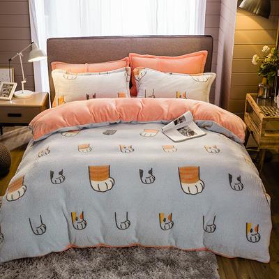 2019新款-雪花绒四件套 床单款1.5m(5英尺)床 搞怪猫抓