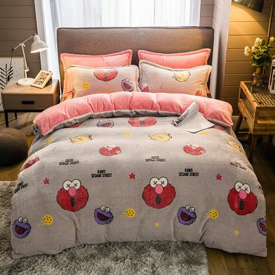 2019新款-雪花绒四件套 床单款1.5m(5英尺)床 卡通达人