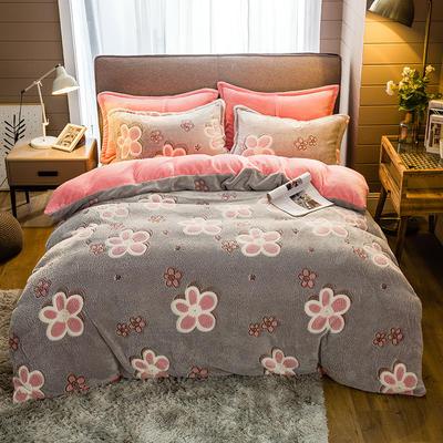 2019新款-雪花绒四件套 床单款1.5m(5英尺)床 梅花开