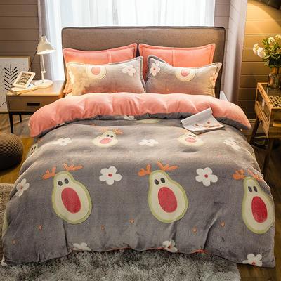 2019新款-雪花绒四件套 床单款1.5m(5英尺)床 木瓜达人