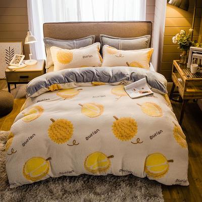 2019新款-雪花绒四件套 床单款1.5m(5英尺)床 水果榴莲