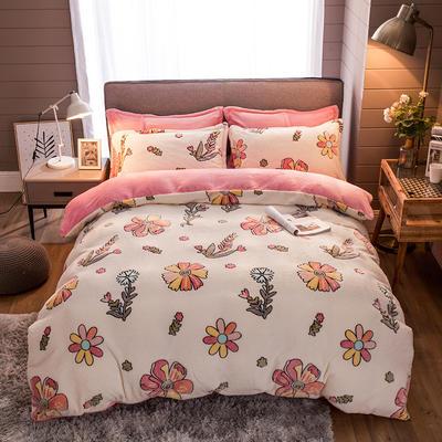 2019新款-雪花绒四件套 床单款1.5m(5英尺)床 甜蜜花丛