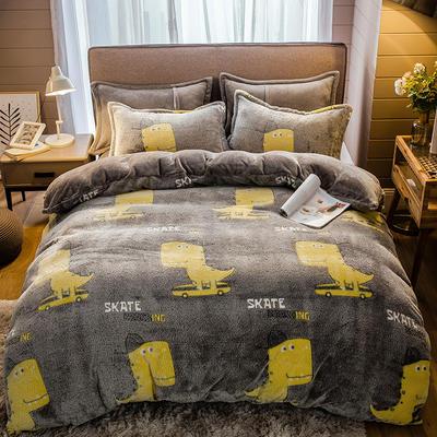 2019新款-雪花绒四件套 床单款1.5m(5英尺)床 小恐龙