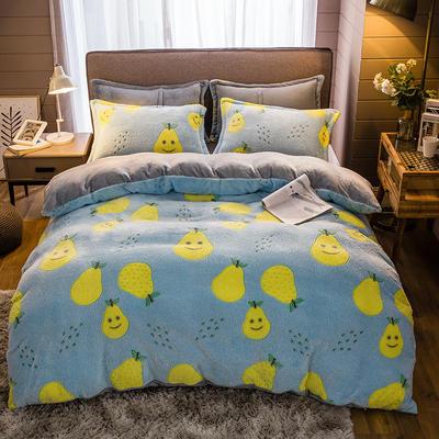 2019新款-雪花绒四件套 床单款1.5m(5英尺)床 笑脸鸭梨