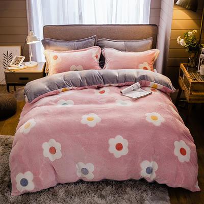 2019新款-雪花绒四件套 床单款1.2m(4英尺)床 幸福朵朵