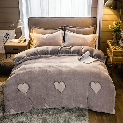 2019新款-雪花绒四件套 床单款1.5m(5英尺)床 一心一意