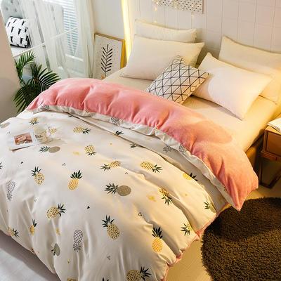 时尚法莱绒单品被套法兰绒套件加厚 200X230cm 菠萝风暴