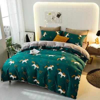 2019-时尚法莱绒四件套加厚法兰绒四件套 床单款1.5m(5英尺)床 独角兽
