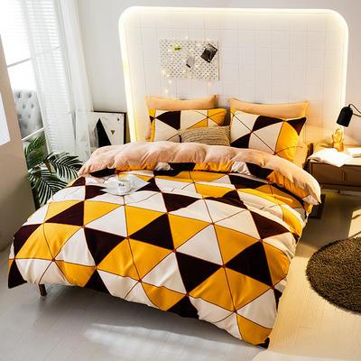 2019-时尚法莱绒四件套加厚法兰绒四件套 床单款1.5m(5英尺)床 菱格