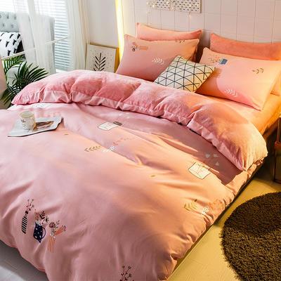 2019-时尚法莱绒四件套加厚法兰绒四件套 床单款1.8m(6英尺)床 梦幻花瓶