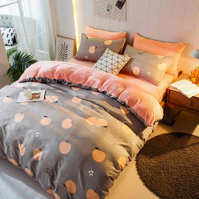 2019-时尚法莱绒四件套加厚法兰绒四件套 床单款1.8m(6英尺)床 苹果碰碰