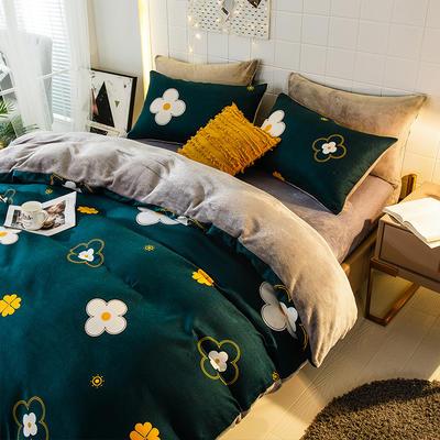 2019-时尚法莱绒四件套加厚法兰绒四件套 床单款1.8m(6英尺)床 小幸运