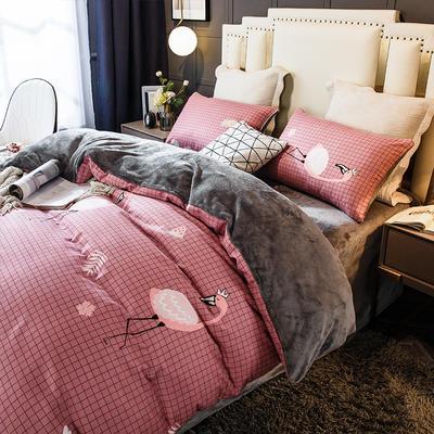 2020-时尚法莱绒四件套加厚法兰绒四件套 床单款1.8m(6英尺)床 爱情格语鸟