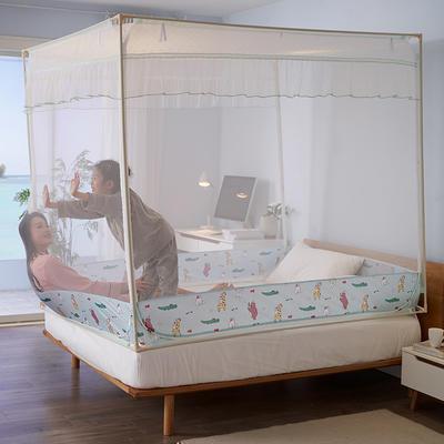 2020床笠款宝宝防摔坐床三开门拉链蚊帐1.5m1.8床双人家用 1.5m(5英尺)床 动物世界
