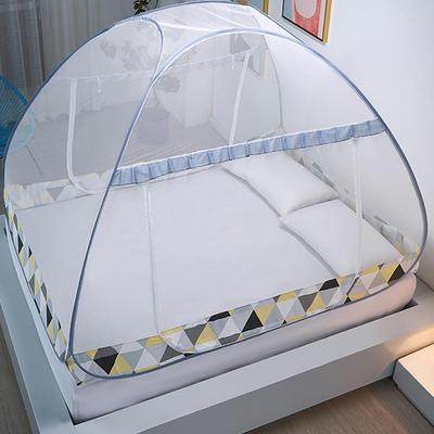 新款蒙古包蚊帐免安装1.8m床学生宿舍1.5床上下铺儿童防摔 1.5m(5英尺)床 几何空间