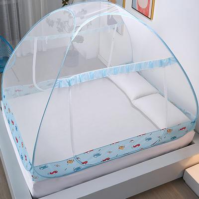 新款蒙古包蚊帐免安装1.8m床学生宿舍1.5床上下铺儿童防摔 1.5m(5英尺)床 卡通小飞机